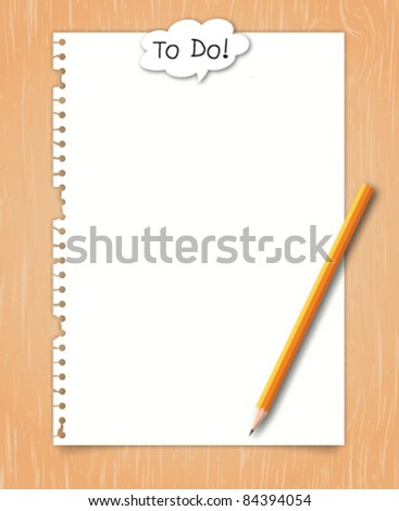 Paper with conceptual to do balloon word on wood background - stock vector