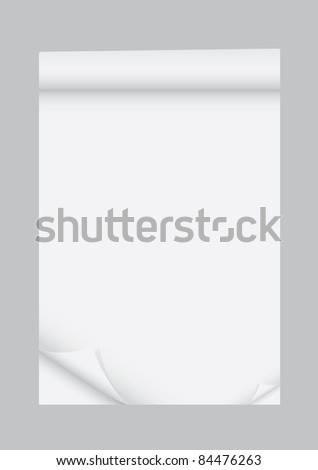 Paper with corner curl for tex - stock vector