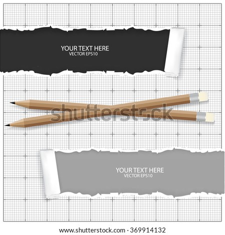 paper with pencils - stock vector