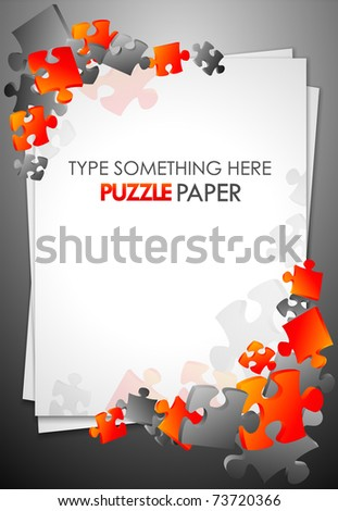 Paper with puzzle pieces Vector - stock vector