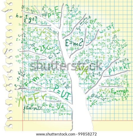 Paper with tree trunk and equations - stock vector