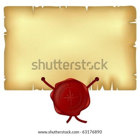 paper with wax seal - stock vector