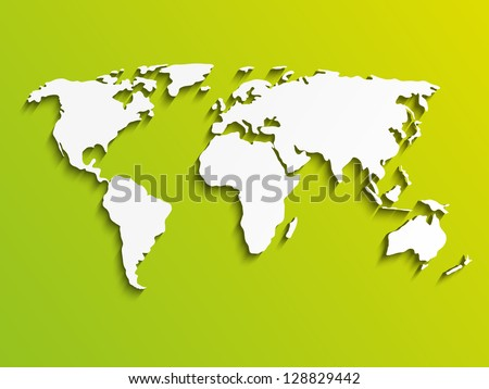 Paper World map on green - stock vector