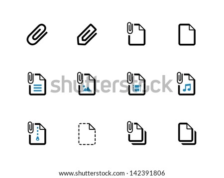 Paperclip file icons on white background. Vector illustration. - stock vector