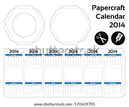 Papercraft hexagon calendar 2014 do yourself stock vector papercraft hexagon calendar 2014 do it yourself solutioingenieria