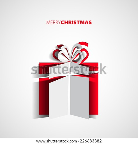 Papercut Christmas gift box, Simple card for christmas, vector - stock vector