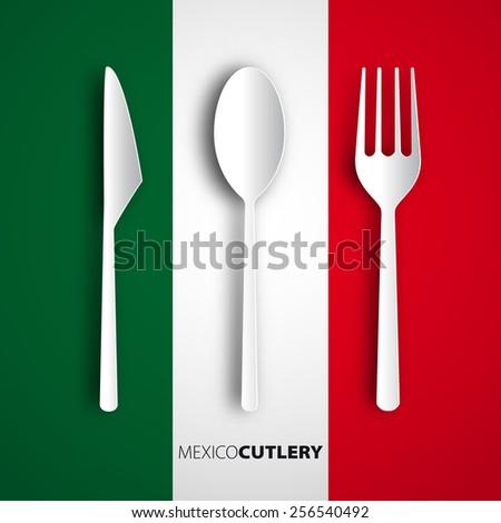 Papercut fork, knife, spoon on mexico flag, Vector restaurant card menu design - stock vector