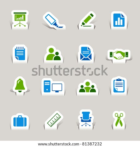 Papercut - Office and Business icons - stock vector