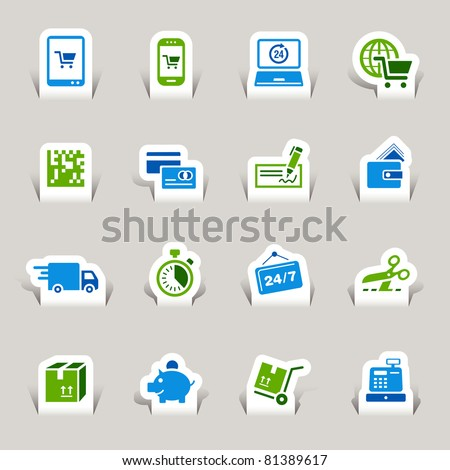 Papercut - Shopping icons - stock vector