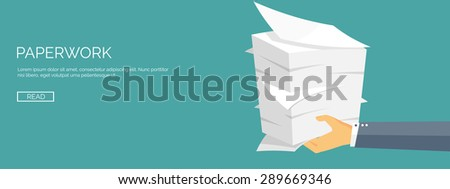 Paperwork. Flat background with paper. Office and emailing. Daily routine. - stock vector