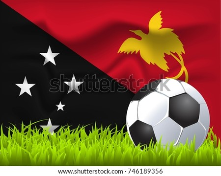 Papua new guinea flag and soccer ball