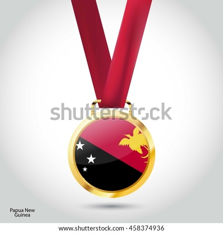 Papua New Guinea Flag in gold Medal. Vector Illustration. RIO Olympic Game Bronze Medal. Vector Illustration