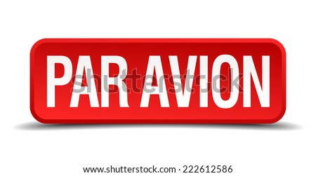 Par avion red 3d square button isolated on white - stock vector