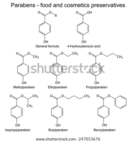 Parabens - food, cosmetic and pharmaceutical preservatives, 2d skeletal illustration, isolated, vector, eps 8
