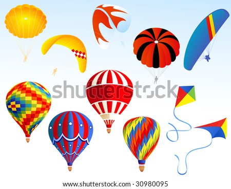 Parachute set, vector illustration, EPS file included - stock vector