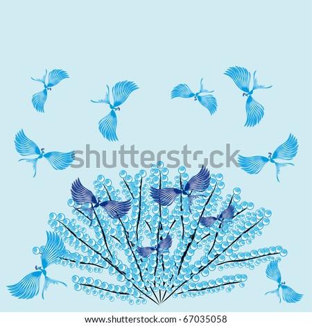 Paradise birds on a winter tree.Illustration. - stock vector