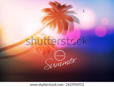 Paradise Island-Palm Tree Sunset - stock vector