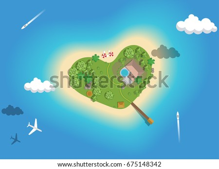 Paradise tropical island in the form of heart, top view. Romantic vacation on the island in the sea, honeymoon. Vector hand drawn illustration