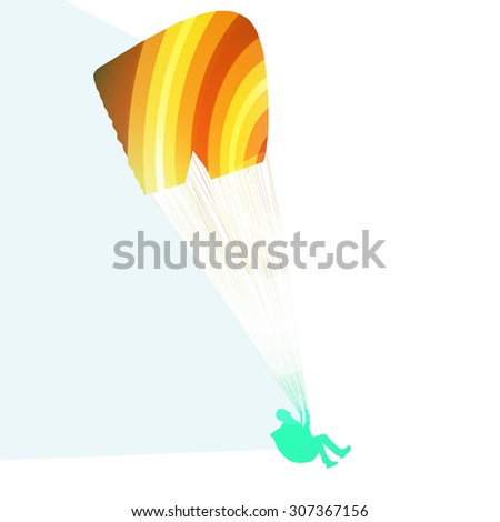 Paraglider flying silhouette illustration vector background colorful concept made of transparent curved shapes - stock vector
