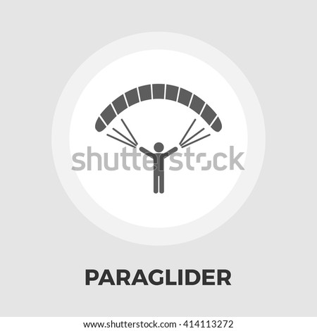 Paraglider icon vector. Flat icon isolated on the white background. Editable EPS file. Vector illustration. - stock vector