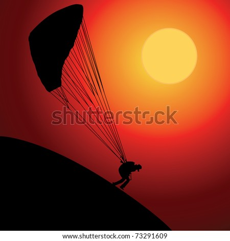 Paraglider over sunset, colored vector illustration