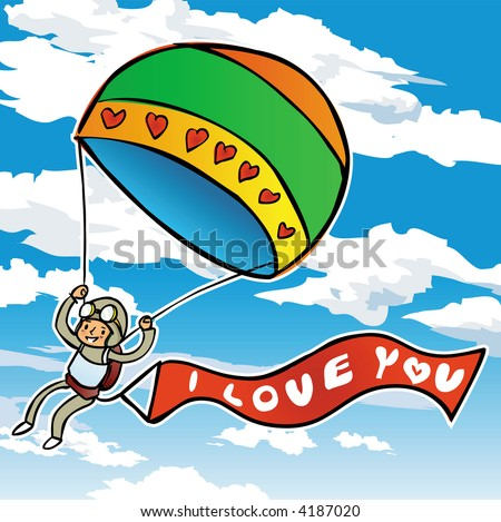 paragliders in a bue sky with love - stock vector
