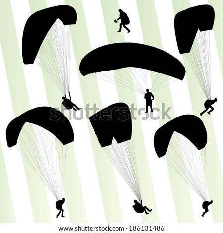 Paragliding active sport background set vector - stock vector