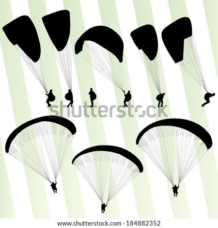 Paragliding active sport vector set - stock vector