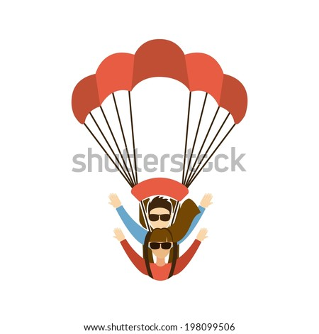 Paragliding design over white background, vector illustration - stock vector