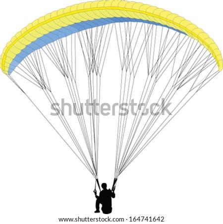 paragliding - vector - stock vector