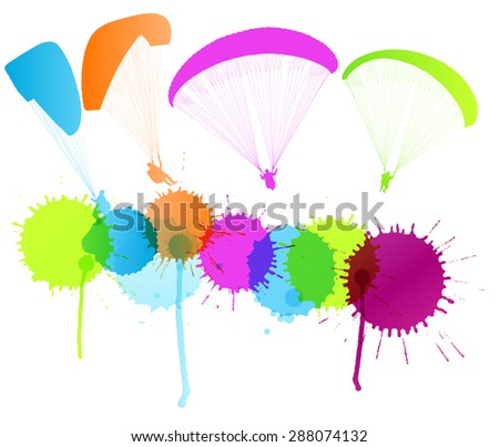 Paragliding vector background concept with color splashes - stock vector