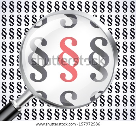 paragraph symbol in magnifying glass / vector eps 10 - stock vector
