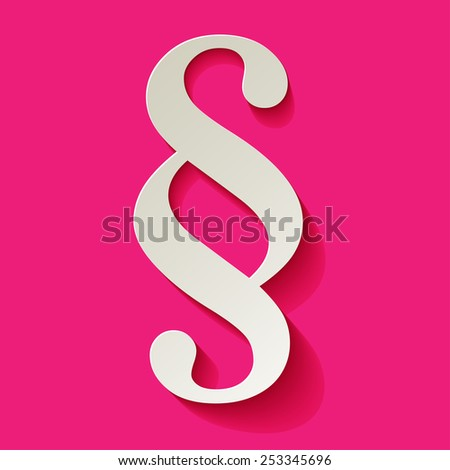 Paragraph white symbol paper on pink background - stock vector