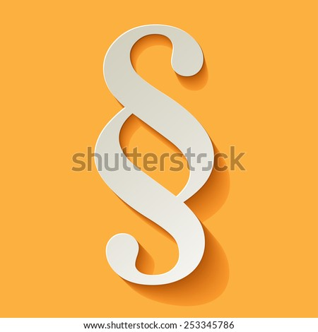 Paragraph white symbol paper on yellow background - stock vector
