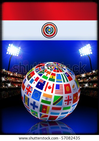 Paraguay Flag with Globe on Stadium Background Original Illustration