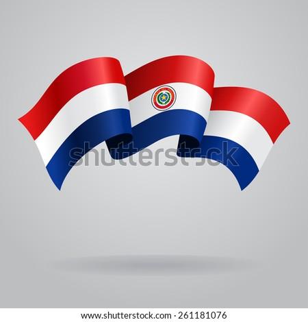 Paraguayan waving Flag. Vector illustration Eps 8. - stock vector