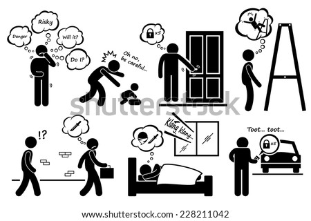 Paranoid Paranoia People Too Worry Stick Figure Pictogram Icons - stock vector