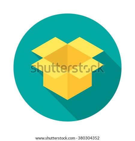 Parcel icon with long shadow. Flat design style. Round icon. Box silhouette. Simple circle icon. Modern flat icon in stylish colors. Web site page and mobile app design element. - stock vector
