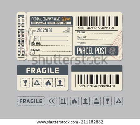 Parcel post. Packaging Labels - stock vector