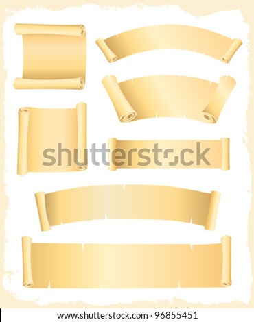 Parchment Scroll And Banners/ Illustration of a set of old parchment scroll, swirl and roll paper - stock vector