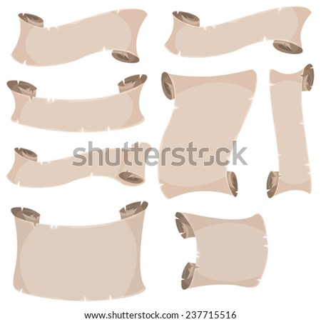 Parchment Scroll And Banners Set/ Illustration of a set of cartoon old parchment scroll, swirl and roll paper - stock vector