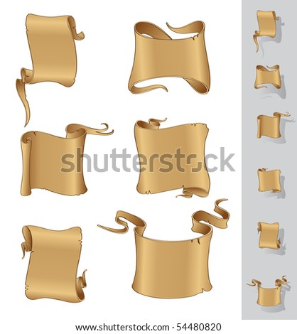 Parchment scrolls vector banners - stock vector