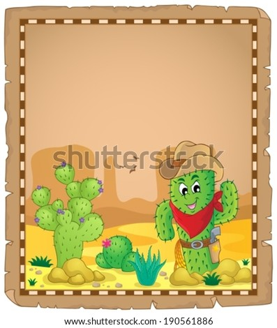 Parchment with cactus theme 1 - eps10 vector illustration. - stock vector