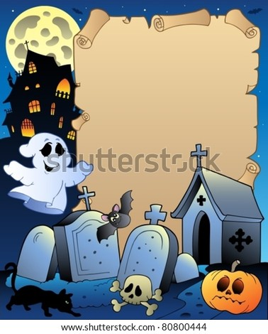 Parchment with Halloween topic 2 - vector illustration. - stock vector