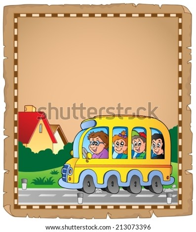 Parchment with school bus 1 - eps10 vector illustration. - stock vector