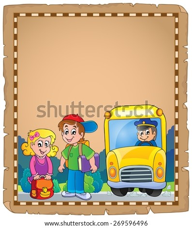 Parchment with school bus 4 - eps10 vector illustration. - stock vector