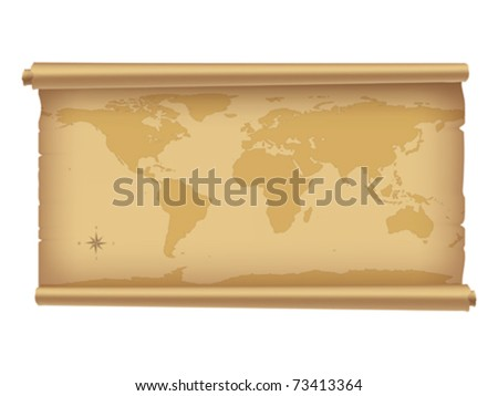 Parchment with world-map isolated on white. | Vector illustration. | Contain gradient mesh.
