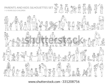 Parent and child collection of silhouettes. Sketch collection - stock vector