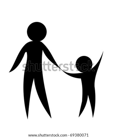 Parent and child holding hands together. Symbolic vector illustration - stock vector