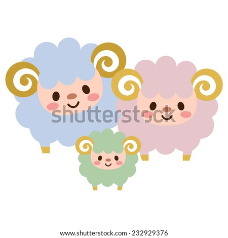 Parent-child of sheep - stock vector